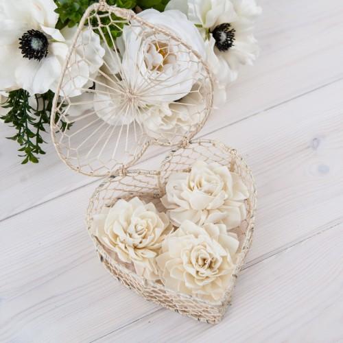 SERCE na obrączki kremowe (+kwiaty)