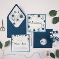 ZAPROSZENIE ślubne Granatowe Anemony (+koperta z wnętrzem+naklejka)