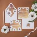 ZAPROSZENIE ślubne Kremowe Anemony (+koperta z wnętrzem+naklejka)