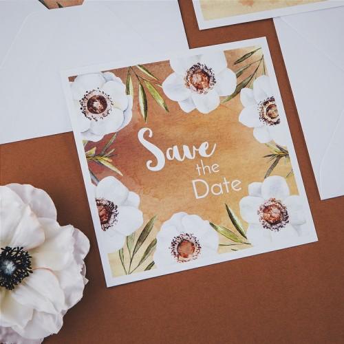 SAVE THE DATE Kremowe Anemony (+koperta z wnętrzem+naklejka)