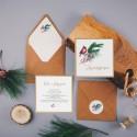 ZAPROSZENIE ślubne Winter Bird (+koperta z wnętrzem+naklejka)