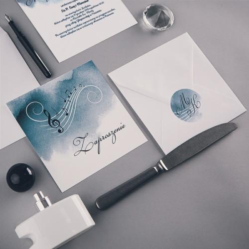ZAPROSZENIE ślubne Nuty (+koperta z wnętrzem+naklejka)