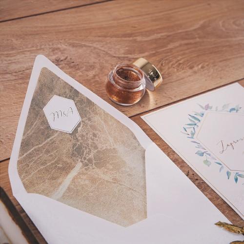 ZAPROSZENIE ślubne Hexagon (+koperta z wnętrzem+naklejka)