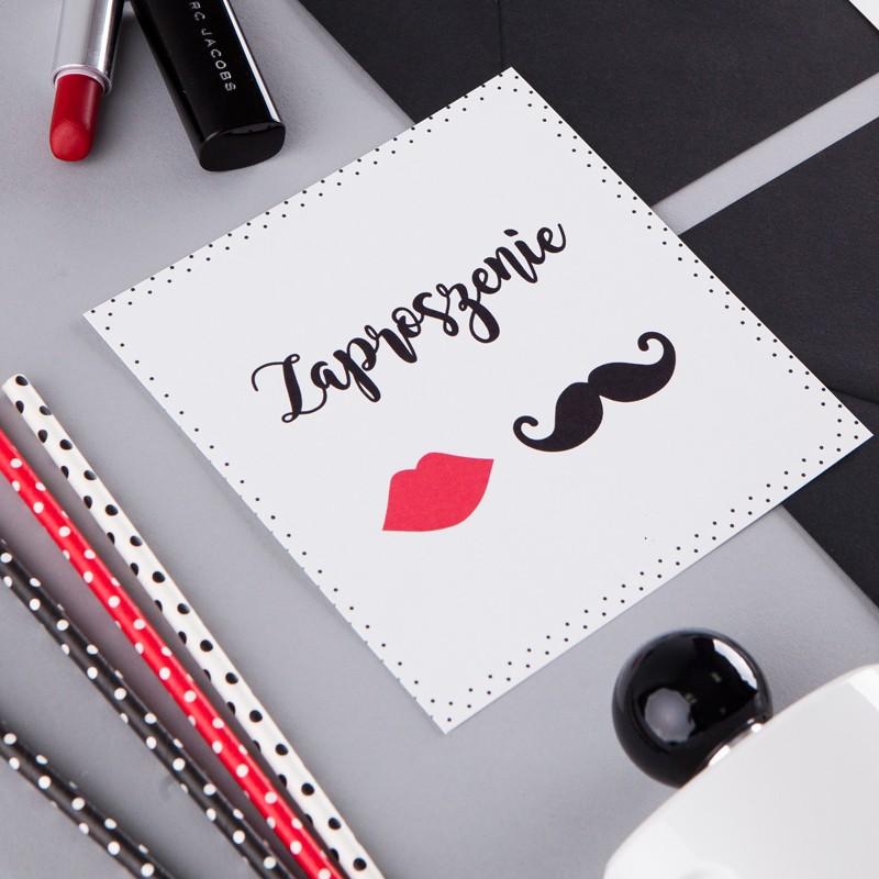 ZAPROSZENIE ślubne Usta Wąsy (+koperta z wnętrzem+naklejka)