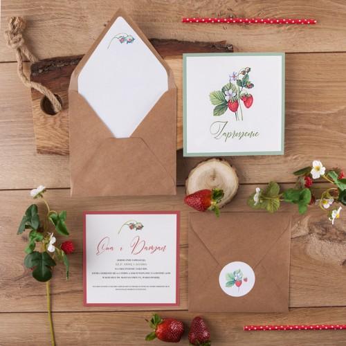 ZAPROSZENIE ślubne Strawberry (+koperta z wnętrzem+naklejka)