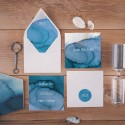 SAVE THE DATE Akwarelowy Ocean (+koperta z wnętrzem+naklejka)