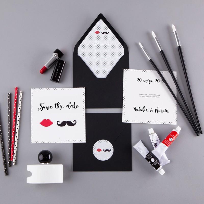 SAVE THE DATE Usta Wąsy (+koperta z wnętrzem+naklejka)