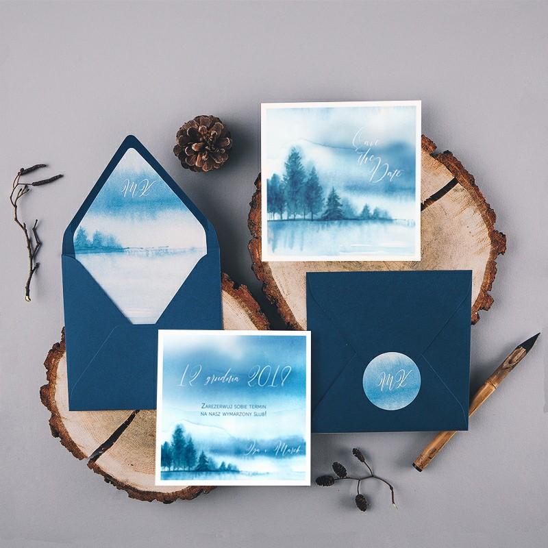 SAVE THE DATE Snowy Forest (+koperta z wnętrzem+naklejka)