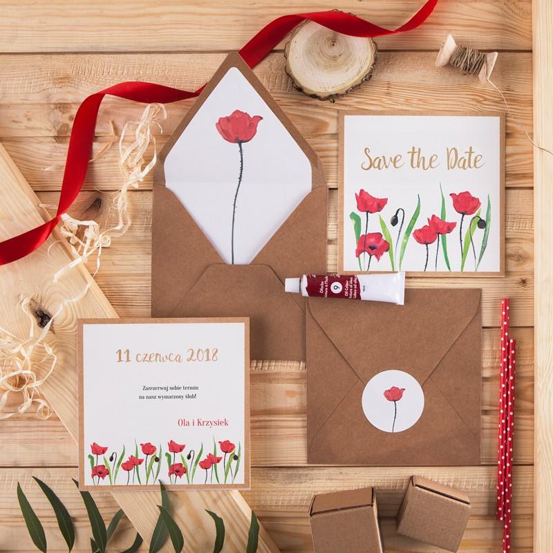 SAVE THE DATE Poppy (+koperta z wnętrzem+naklejka)