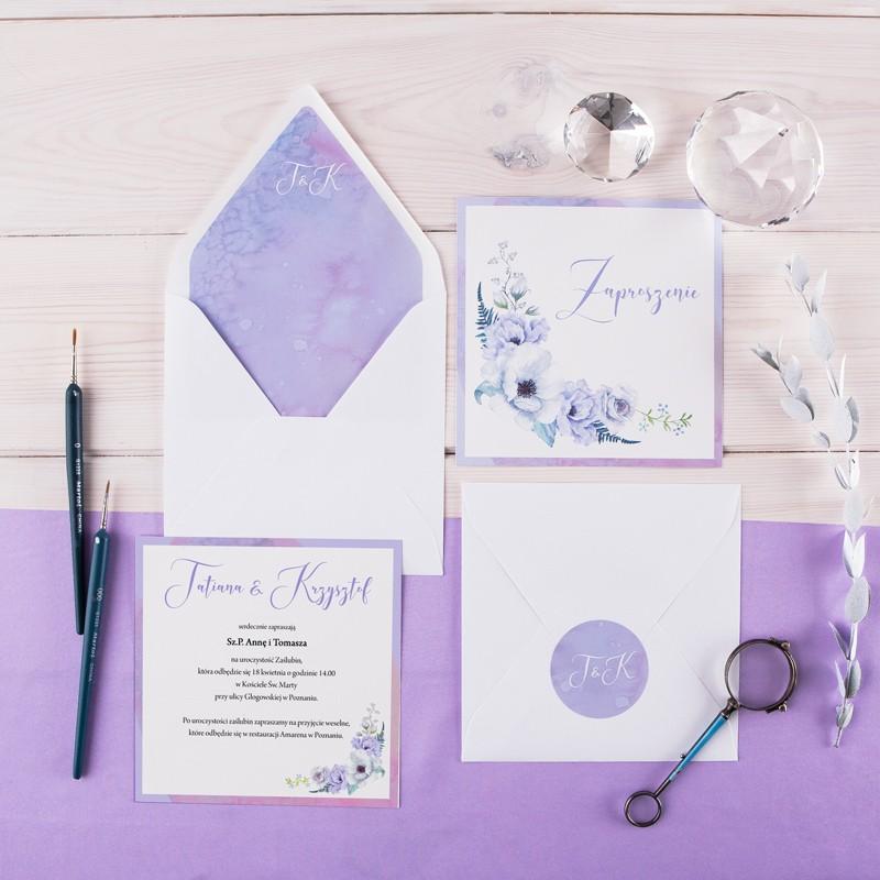 ZAPROSZENIE ślubne Lilac Grey (+koperta z wnętrzem+naklejka)