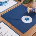 ZAPROSZENIE ślubne Granatowe Kwiaty (+koperta z wnętrzem+naklejka)