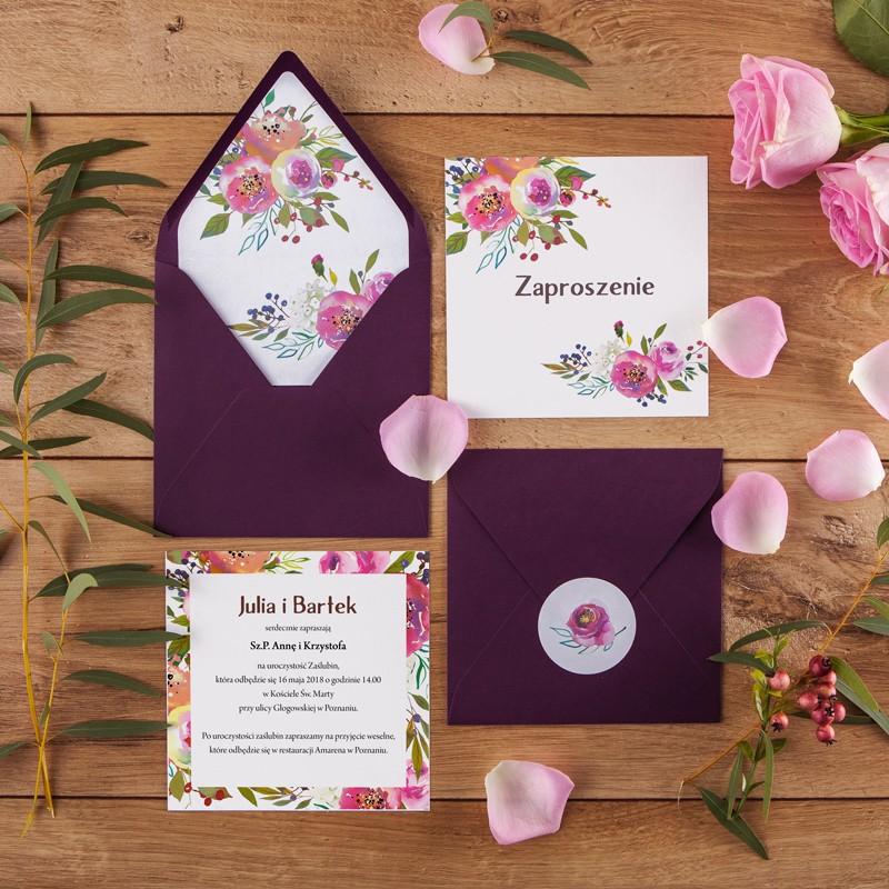 Zaproszenie ślubne Violet Flowers Koperta Z Wnętrzemnaklejka