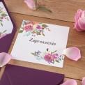 ZAPROSZENIE ślubne Violet Flowers (+koperta z wnętrzem+naklejka)