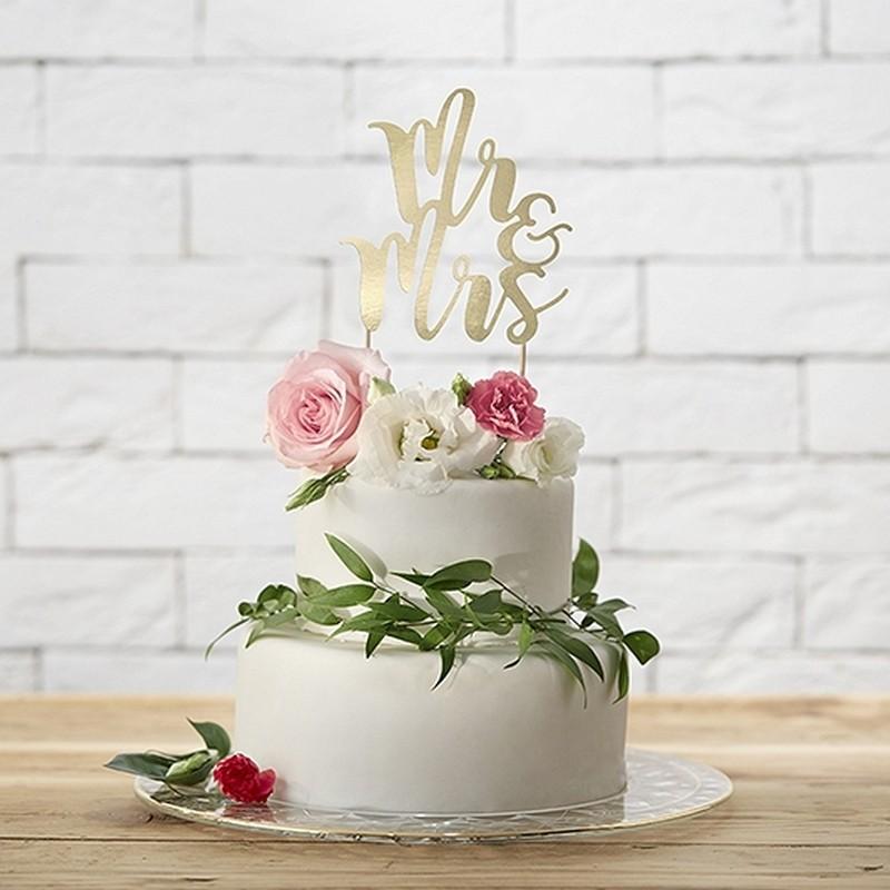 TOPPER na tort Mr&Mrs ZŁOTY