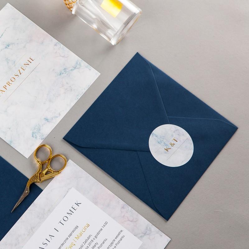 Zaproszenie ślubne Marmur Granat Koperta Z Wnętrzemnaklejka