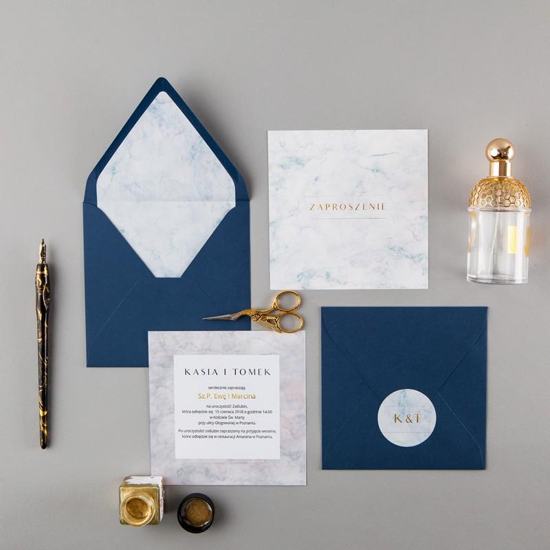 ZAPROSZENIE ślubne Marmur (+koperta z wnętrzem+naklejka)