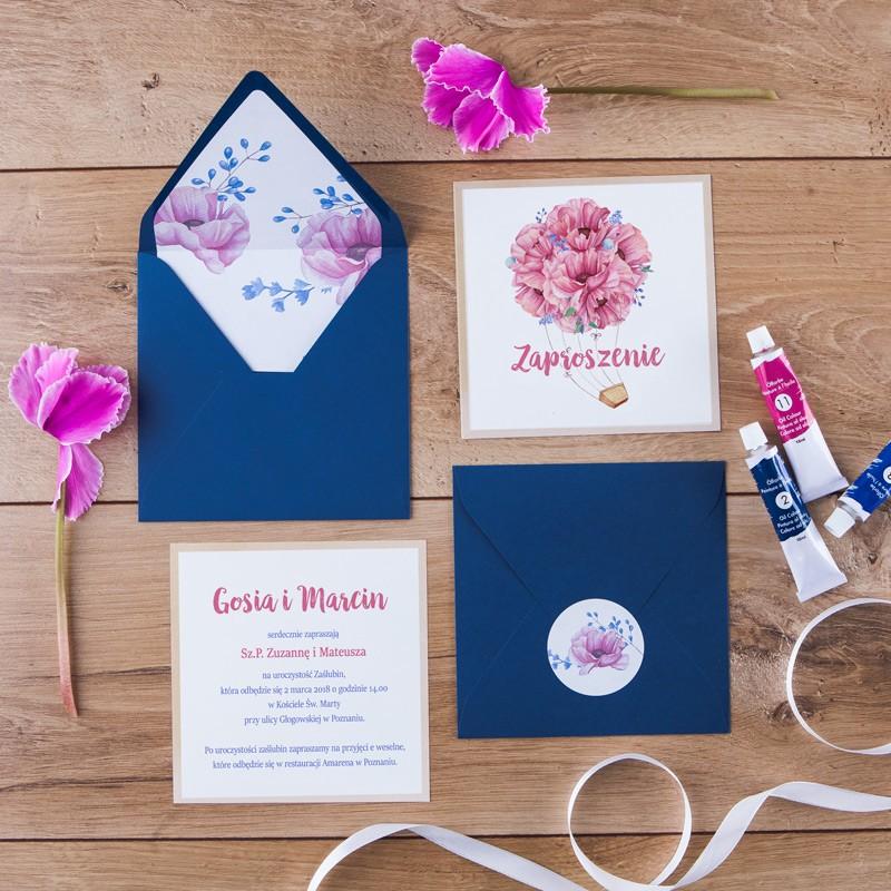 Zaproszenie ślubne Flower Bouquet Koperta Z Wnętrzemnaklejka