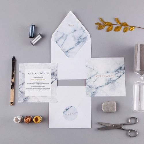 ZAPROSZENIE ślubne Marmur Marble (+koperta z wnętrzem+naklejka)