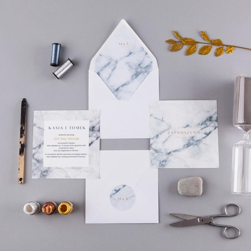 Zaproszenie ślubne Marmur Marble Koperta Z Wnętrzemnaklejka