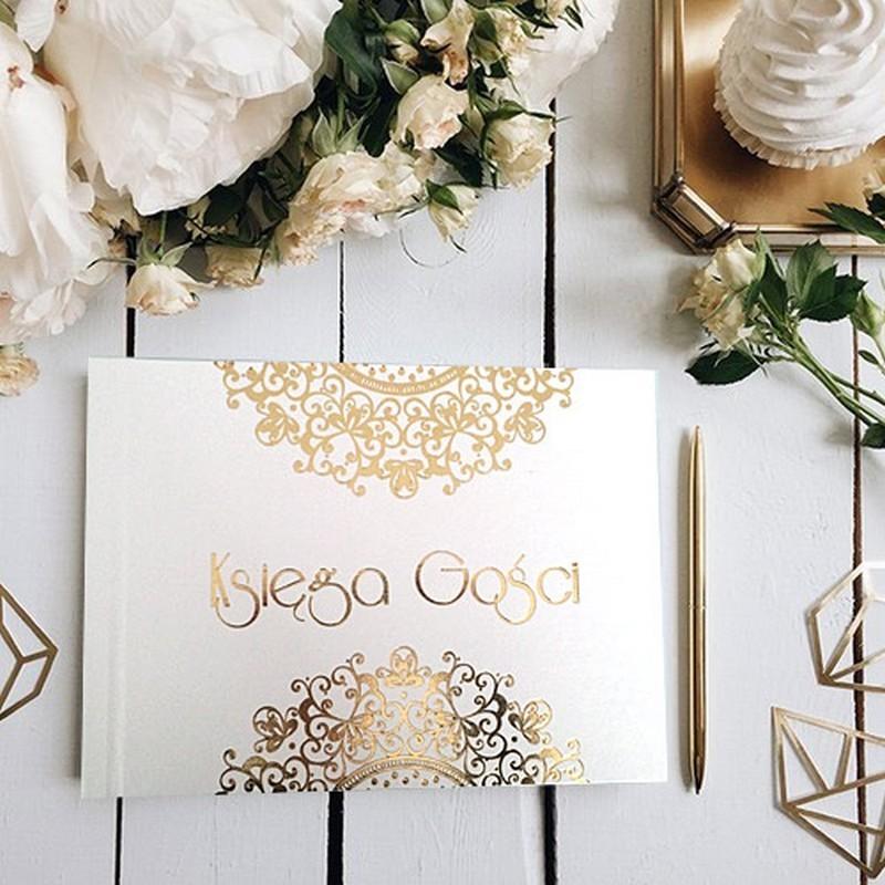 KSIĘGA GOŚCI weselnych ecoskóra Złota Koronka