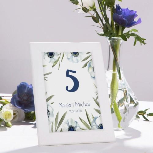 NUMEREK na stół wesele z imionami Granatowe Anemony