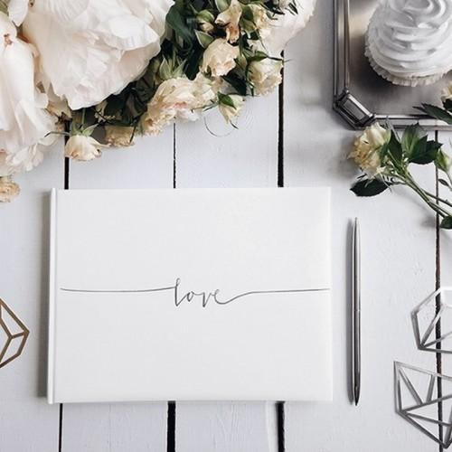 KSIĘGA GOŚCI weselnych z napisem Love SREBRNA