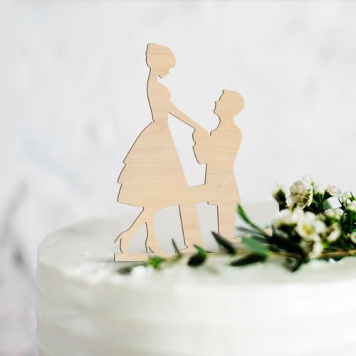 TOPPER na tort weselny Wyznanie Miłości NATURAL