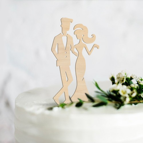 TOPPER na tort weselny Elegant Couple NATURAL