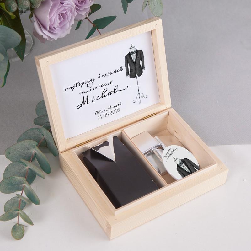 PREZENT dla Świadka w drewnianym pudełku Bride&Groom