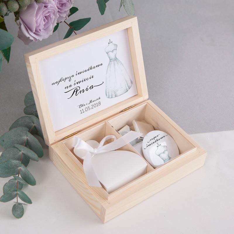 Wspaniały PODZIĘKOWANIE dla Świadkowej w drewnianym pudełku Bride&Groom TG77