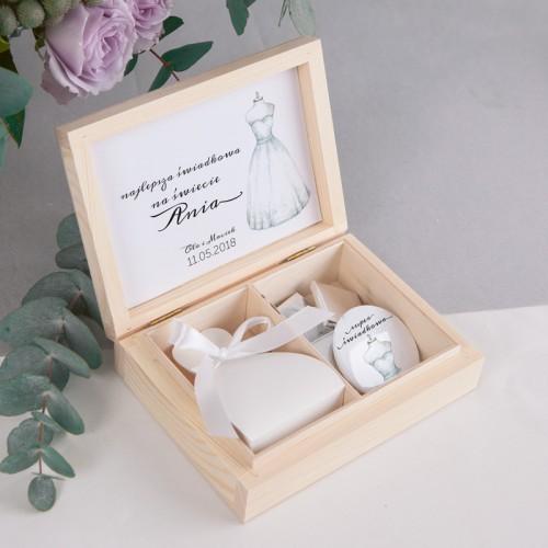 PREZENT dla Świadkowej w drewnianym pudełku Bride&Groom