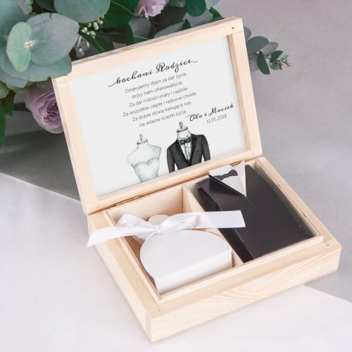 PODZIĘKOWANIE dla Rodziców w drewnianym pudełku Bride&Groom