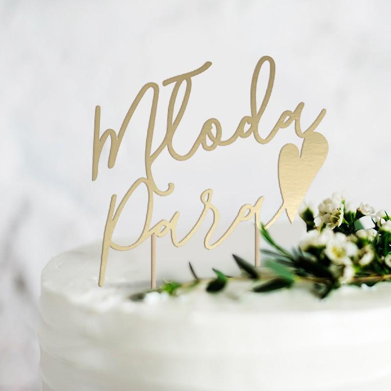 TOPPER na tort złoty Młoda Para