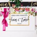 KSIĘGA GOŚCI weselnych z imionami Flowers&Stripes (+wstążka c.róż)