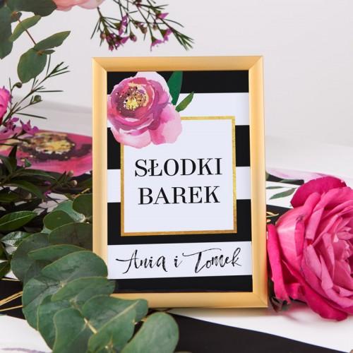 TABLICZKA na stolik z personalizacją Flowers&Stripes
