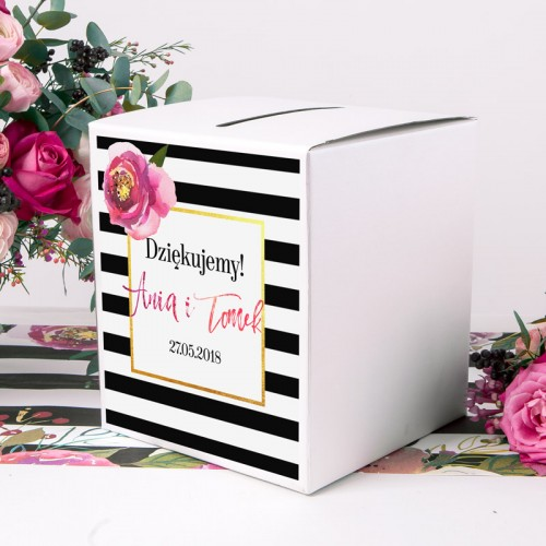 PUDŁO na koperty z personalizacją Flowers&Stripes