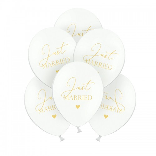 BALONY ślubne Just Married 30cm 6szt