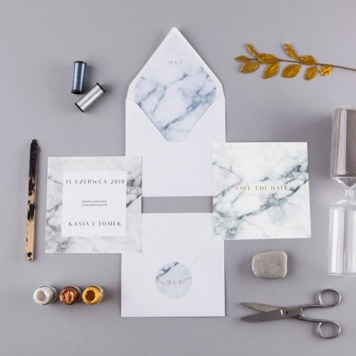 SAVE THE DATE Marmur Marble (+koperta z wnętrzem+naklejka)