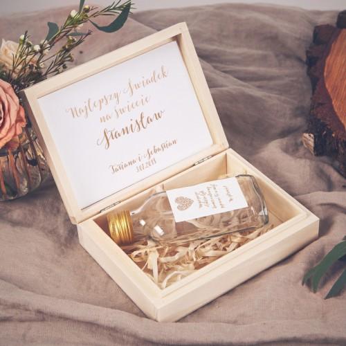 PODZIĘKOWANIE dla Świadka w drewnianym pudełku KACÓWKA Czekoladowe LOVE