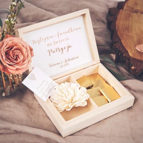 PODZIĘKOWANIE dla Świadkowej w drewnianym pudełku Czekoladowe LOVE