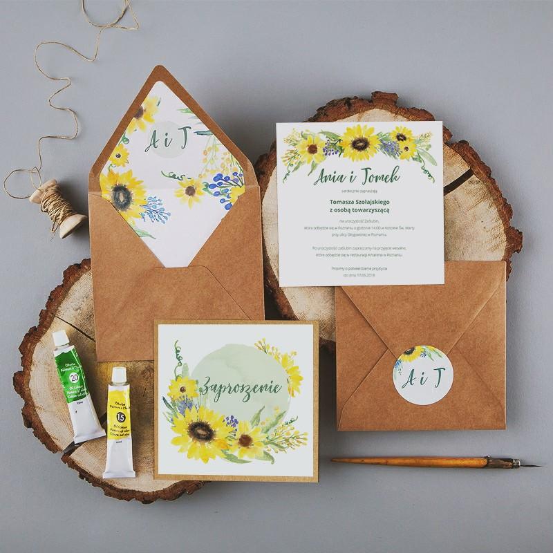 ZAPROSZENIE ślubne Akwarelowe Słoneczniki (+koperta z wnętrzem+naklejka)