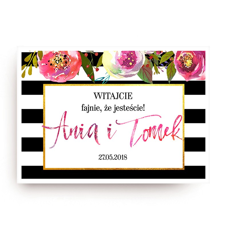 PLAKAT personalizowany 50x70cm Flowers&Stripes