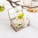 SZKATUŁKA na obrączki szklana prostokątna ZŁOTA ŚREDNIA 6,5x4,5cm