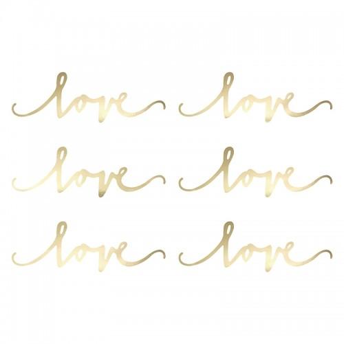 NAPISY dekoracyjne LOVE 6szt ZŁOTE