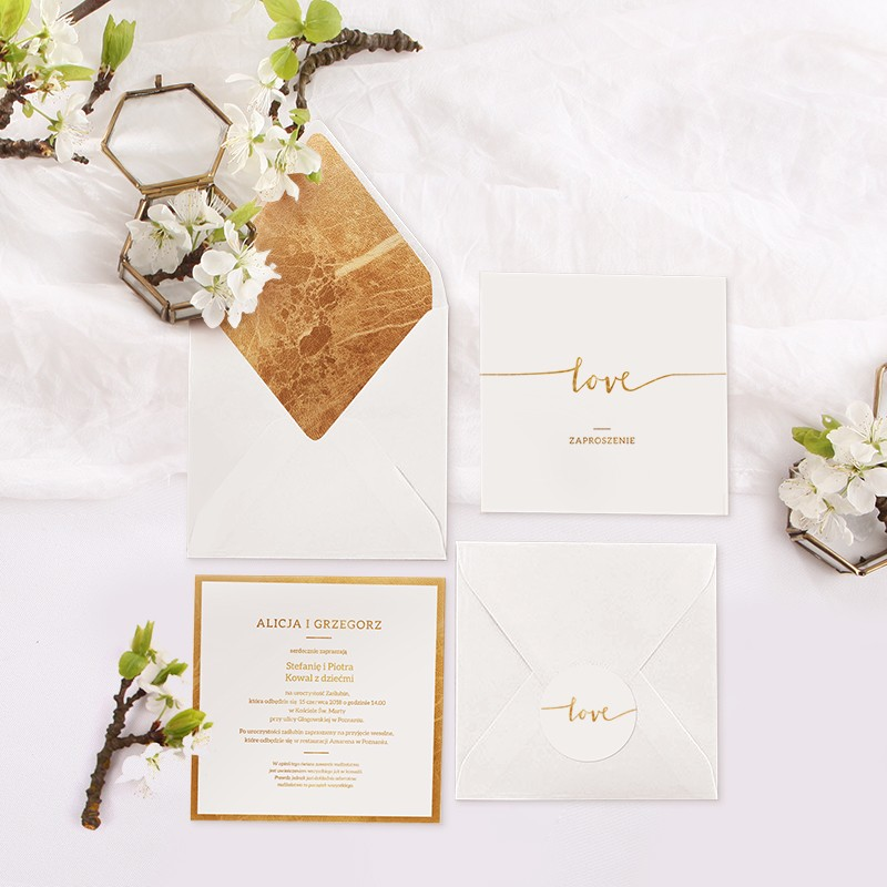 Zaproszenie ślubne Kolekcja Love Koperta Z Wnętrzemnaklejka