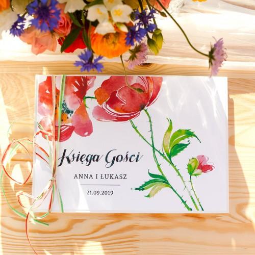 KSIĘGA GOŚCI weselnych z imionami Kwiaty Lata (+wstążki czerwono-zielone)
