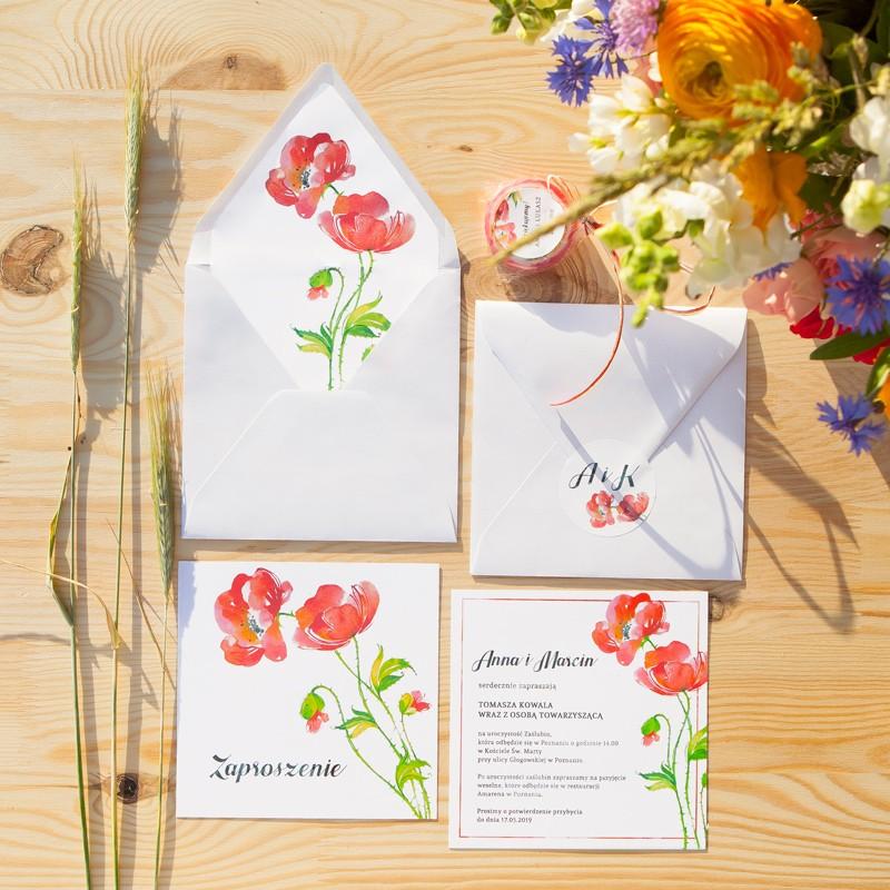 ZAPROSZENIE ślubne Kwiaty Lata (+koperta z wnętrzem+naklejka)