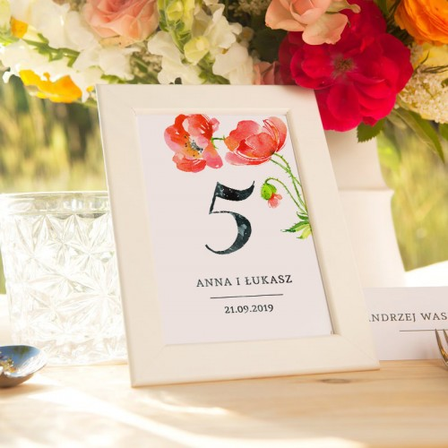 NUMEREK na stół wesele z imionami Kwiaty Lata
