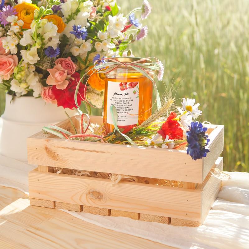 MIÓD dla Rodziców w drewnianej skrzyni Kwiaty Lata MEGA ZESTAW