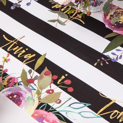 BIEŻNIK Z IMIONAMI Pary Młodej Flowers&Stripes 42cmx5m